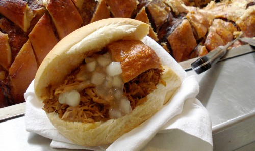 A delicious hog roast roll!  Simply the best pulled pork!