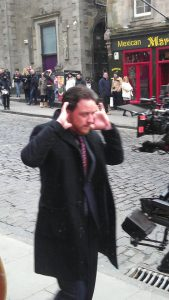 James McAvoy filming 'Filth' outside Oink on Victoria Street in Edinburgh