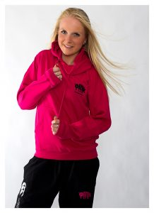 Oink pink Hoodie and black track bottoms